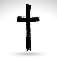 Hand drawn black grunge cross icon simple vector