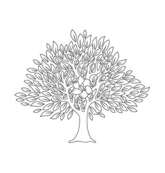 Hand tree concept in outline style for social help vector
