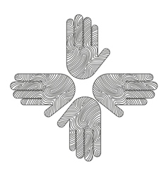 hands human around icon team vector image