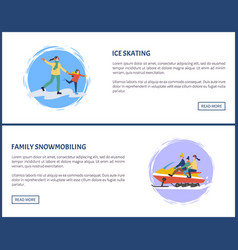 ice skating and family snowmobiling active vector image