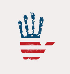 imprint a human hand in colors usa flag vector image