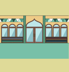 Inside mosque with a bookshelf in the vector
