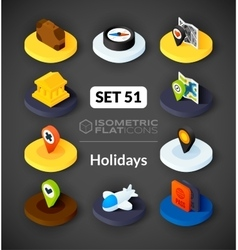 Isometric flat icons set 51 vector image