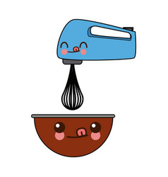 Kawaii kitchen electric mixer bowl cartoon vector