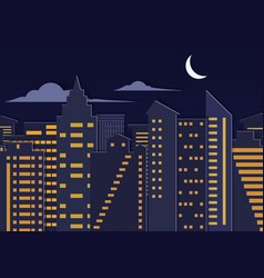 Landscape paper cuted art style night urban city vector