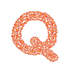 Letter q made of valentines vector
