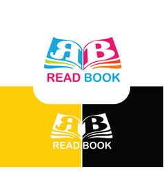 Logo book with letter r and b vector