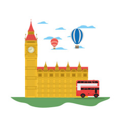 London clock tower with air balloon and bus vector