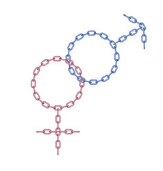 Male and female symbol made from chain vector