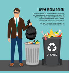 man with trash bag vector image