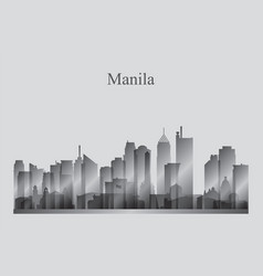 Manila city skyline silhouette in grayscale vector