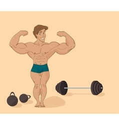 Muscular man bodybuilder - inflated athlete in vector