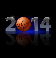 new year 2014 metal numerals with basketball vector image