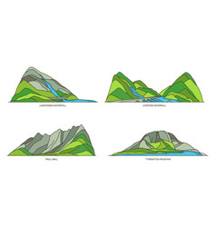 Norway natural landmarks travel icons set vector