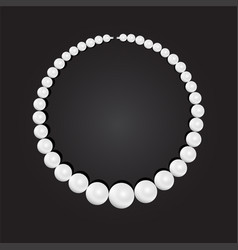 pearl necklace on black background stock vector image