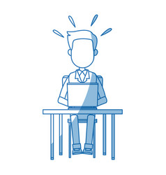 Person working on computer sitting on a chair vector