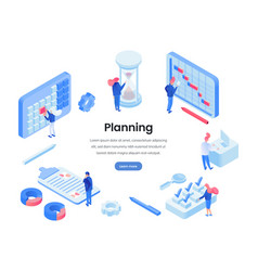 Planning work hours isometric website template vector
