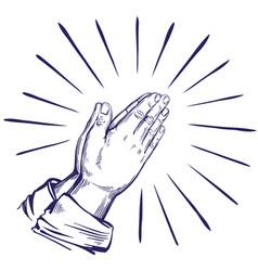 Praying hands symbol christianity hand drawn vector