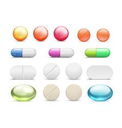 Realistic pills medicine tablets round vitamins vector