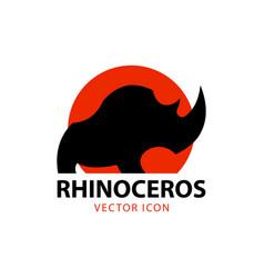 rhino icon rhino silhouette against stylized sun vector image