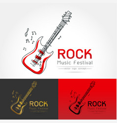 rock guitar logo vector image