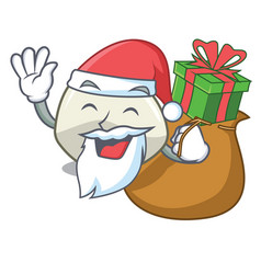 Santa with gift mozzarella cheese isolated on vector