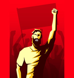 Screaming beard man with raised up fist and crowd vector