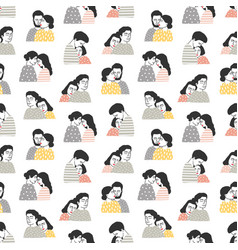 seamless pattern with people in love backdrop vector image
