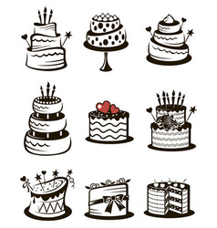 set cakes vector image
