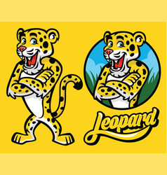 set of cartoon of leopard character vector image