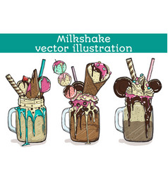 set of different milkshakes chocolate strawberry vector image