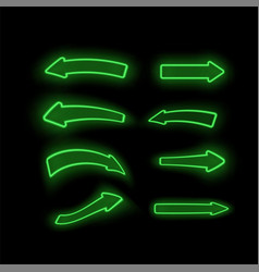 set of different neon green arrows vector image