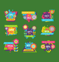 set of sale advertisement spring flowers labels vector image