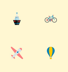 set of transport icons flat style symbols with air vector image