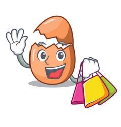 Shopping raw broken egg on table cartoon vector