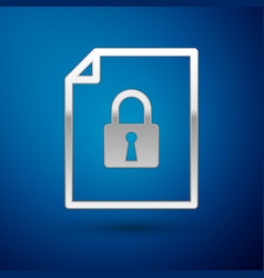 Silver document and lock icon isolated on blue vector