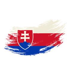 slovak flag grunge brush background vector image
