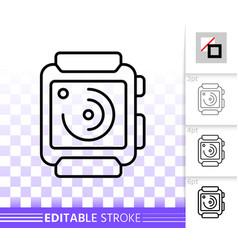 Smart watch simple black line icon vector
