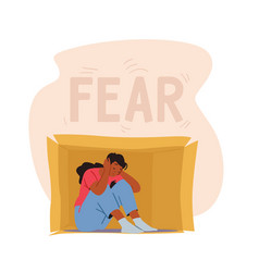 Social anxiety fear concept lonely introvert vector