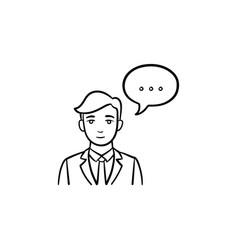 Speaking person hand drawn sketch icon vector