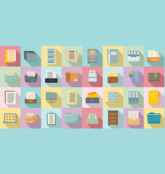 Storage documents icons set flat style vector