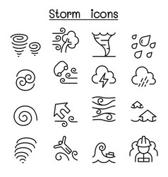 Storm icon set in thin line style vector