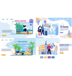 Tour agency landing page set inviting to travel vector