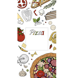 Vertical italian pizza banner on white pizza menu vector