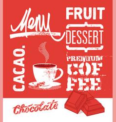 vintage grunge design dessert menu vector image