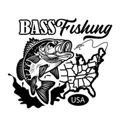 Vintage large mouth bass fish fishing logo vector