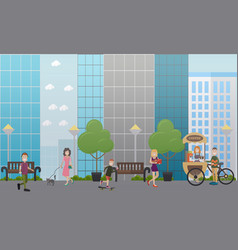 Walking with pets in the street flat vector