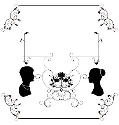 wedding flourishes silhouette vector image
