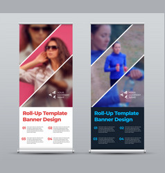 White and black roll up banner template vector
