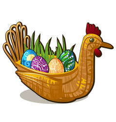 wicker basket form chicken bird with set of vector image